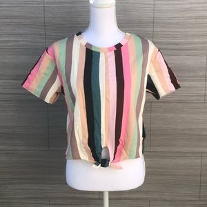 Front tie Striped blouse Size M NEW